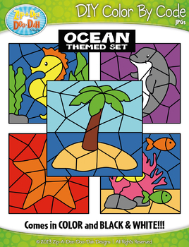 Ocean Color By Code Clipart {Zip-A-Dee-Doo-Dah Designs}