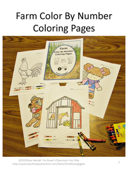 Farm Theme Color by Number Math, Preschool Math, Special Education Math