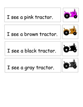 Farm Color Word Match Tractors