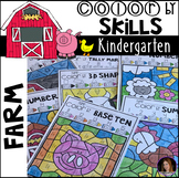 Farm Color by Code Math and Literacy Skills for Kindergarten