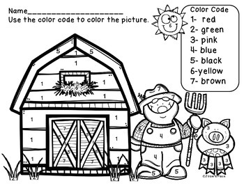 farm color by number picture and color recognition sheet by josie s