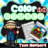 Farm Coloring   Color by Number   Teen Numbers Kindergarten