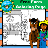 Farm Coloring Page: Farmers & Barnyard Animals
