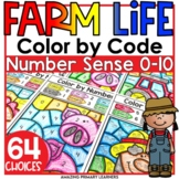 Farm Coloring Worksheets Number Sense 0-10 and Subitizing Activity Pages