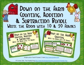 Farm Count, Add & Subtract Bundle with 10 & 20 Frames {Subitizing}
