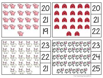 Farm Count & Clip 1-30 Task Cards