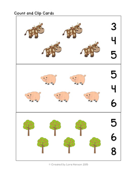 Farm Count and Clip Cards 1-15
