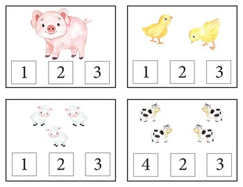 Farm Count and Clip Cards with Matching Cards