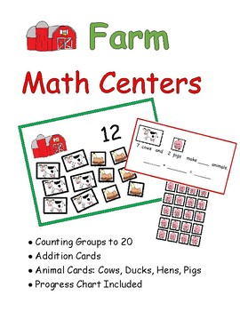 Farm Math Center: Counting to 20, Addition to 10: Includes Labels and Name Tags!