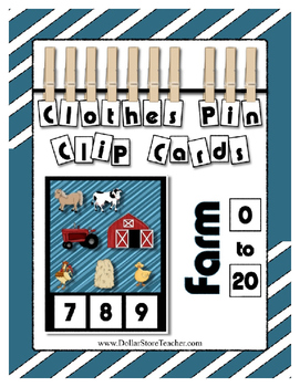 Farm Counting to 20 Clothes Pin Clip Cards