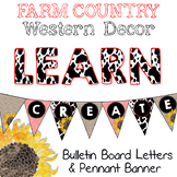 Farm Country Western Bulletin Board & Pennant Banner Letters