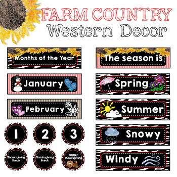 Farm Country Western Calendar Set