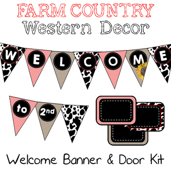 Farm Country Western Welcome Banner and Door Kit {Editable}