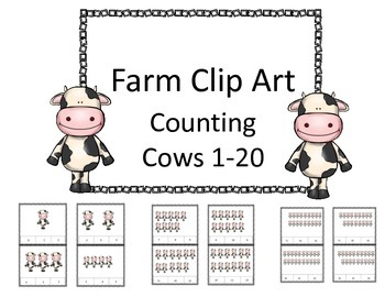 Farm Cow Clip Cards