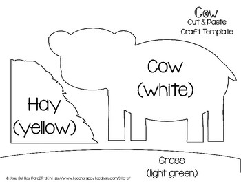 farm cut and paste craft template cow by para2prek tpt