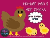 Farm Cut and Paste Craft Template - Hen and Chicks