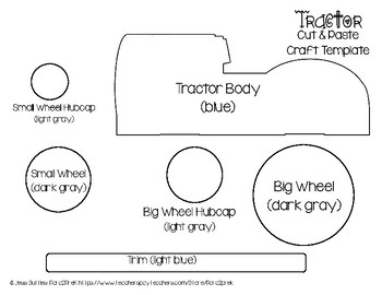 farm cut and paste craft template tractor by para2prek tpt