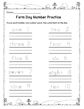 Farm Day Ten Frames and Number Practice