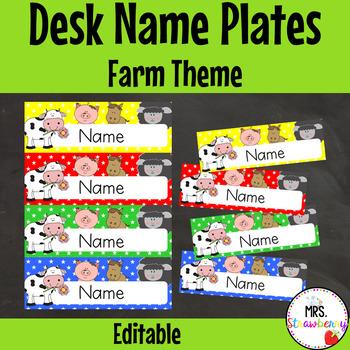 Farm Animal Desk Name Plates | Labels **Editable**