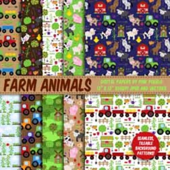 Farm Digital Paper, Farm Animal Scrapbook Paper - Commercial and Personal Use