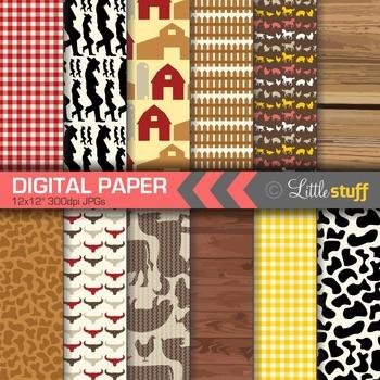 Farm Digital Papers, Barnyard Digital Paper, Farm Animals