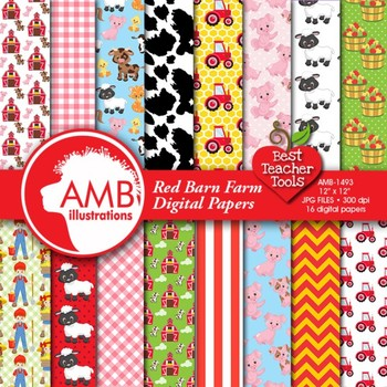 Farm Digital Papers in Bright Colors, {Best Teacher Tools} AMB-1493