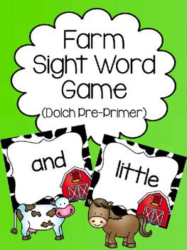 Farm Dolch Pre-Primer Sight Word Game