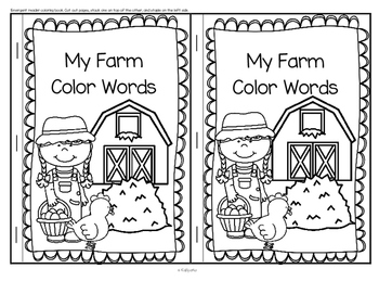 Farm Color Words Emergent Reader by KidSparkz | TpT