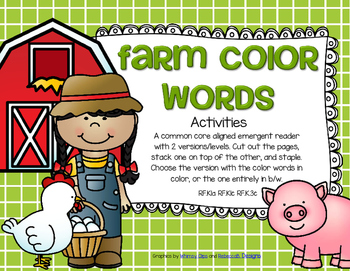 Farm Color Words Emergent Reader