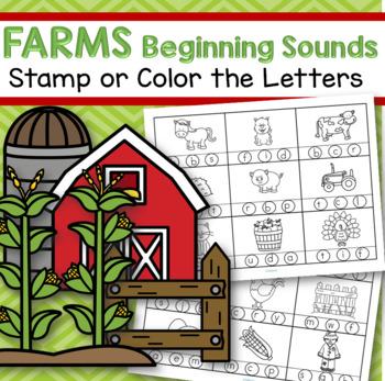 farm beginning sounds stamp or color free by kidsparkz tpt. Black Bedroom Furniture Sets. Home Design Ideas
