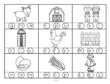 Farm Beginning Sounds Stamp or Color FREE