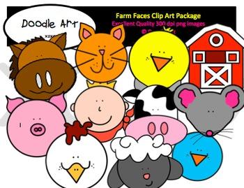 Farm Animal Faces Clipart Pack