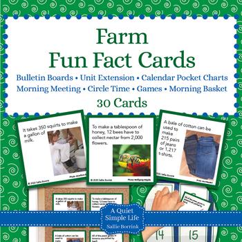 Farm Unit Activity - Fun Fact Cards for Games, Bulletin Board