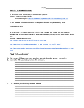 Farm Field Trip Assignment for Agriculture, FACS, Culinary Arts, Business
