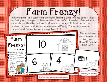 Farm Frenzy! - A Part-Part-Whole Game/Station (Addition and Subtraction)