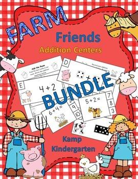 Farm Friends Addition Math Centers Bundle Sums to 10