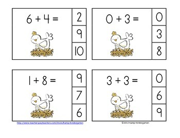 Farm Friends Addition Math Centers Sums to 10