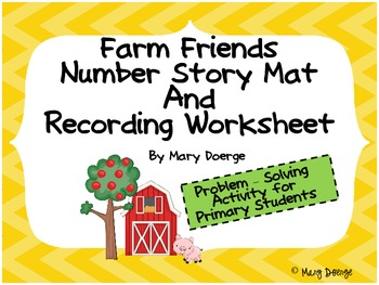 Farm Friends Addition and Subtraction Story Mat and Recording Worksheet