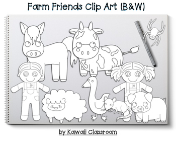 Farm Friends Clip Art (Black and White)