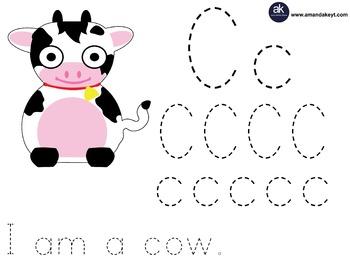 Freebie- Farm Friends Cow Letter Trace