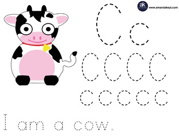 Freebie- Farm Friends Cow Letter Trace