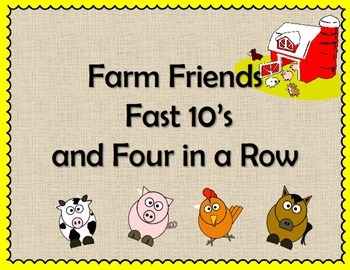 Farm Friends Fast 10's and Four in a Row - Fun Game for Adding 10