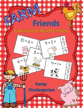 Farm Friends Subtraction Math Centers (Minuends to 10)