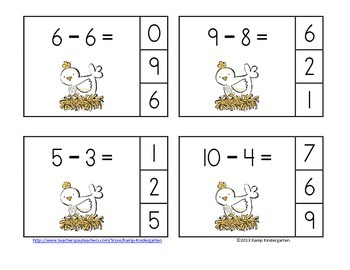Farm Friends Subtraction Math Centers (Minuends to 10)