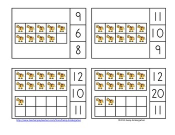 Farm Friends Ten Frames Math Centers (Quantities of 0 to 20)