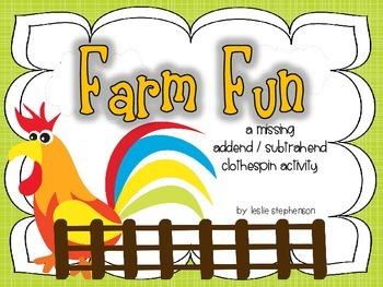 Farm Fun - A Missing Addend/Subtrahend Activity