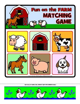 Farm Fun Matching Game - Two levels of play included, plus BONUS clip art!