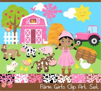 Farm Girls Pink Clipart Set