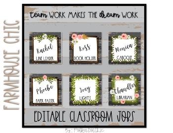 Farm House Chic Classroom Jobs Bulletin Board Set *EDITABLE*
