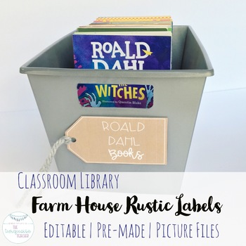 Farm House Rustic Classroom Library Labels Fully Editable Decor